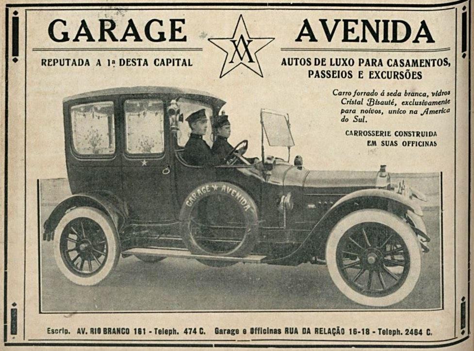 Propaganda antiga de locadora de automóveis em 1921