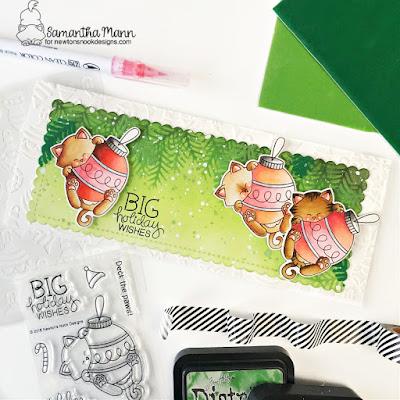 Big Holiday Wises Slimline Card by Samantha Mann for Newton's Nook Designs, Distress Inks, Ink Blending, Stencil, Christmas, Christmas Card, Slimline, Flock, Transfer Gel Duo, Ink Blending, Card Making, #newtonsnook #newtonsnookdesigns #christmas #christmascard #cardmaking #distressink #inkblending #flock #decofoil