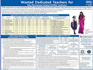 CMS Lucknow Recruitment 2018 Primary Teacher, Lecturer, Principal