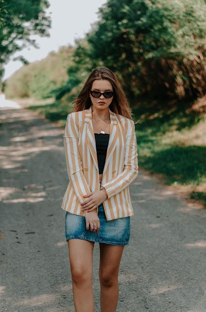 Striped yellow jacket & denim skirt