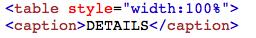 penggunaan tag caption pada tabel html