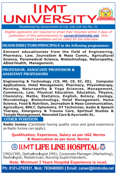 IIMT University Botany/Microbiology/Zoology Faculty Jobs 2020 September