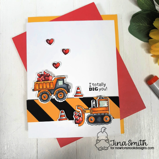 Construction Truck Valentine Card by Tina Smith | Love Quarry Stamp Setby Newton's Nook Designs #newtonsnook #handmade