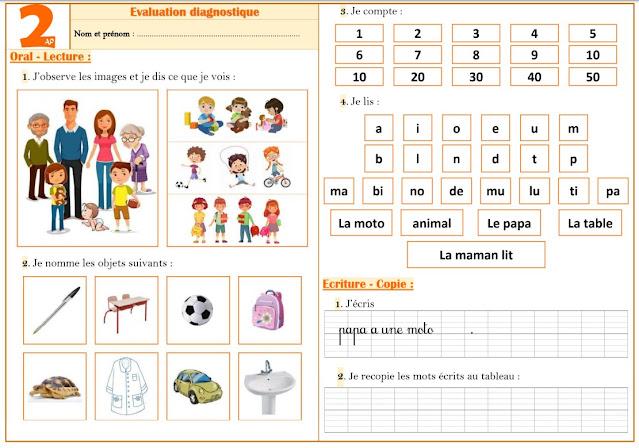 Evaluation diagnostique 2ap Français