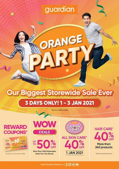 Guardian Orange Party, 1st Jan 2021, Biggest Storewide Sale Ever, Guardian Malaysia, Orange Party, Lifestyle