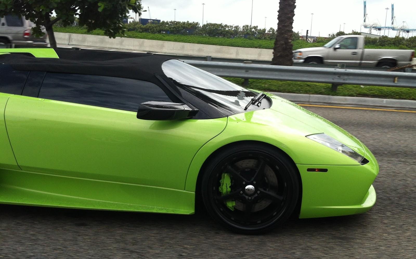 Green Lamborghini Murcielago Roadster Miami Beach Exotic Cars On