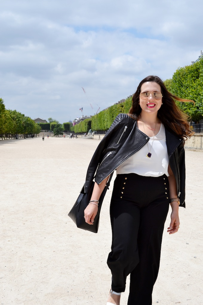 Vancouver fashion blogger Covet and Acquire in Paris Jardin des Tuileries H&M Icons leather jacket.