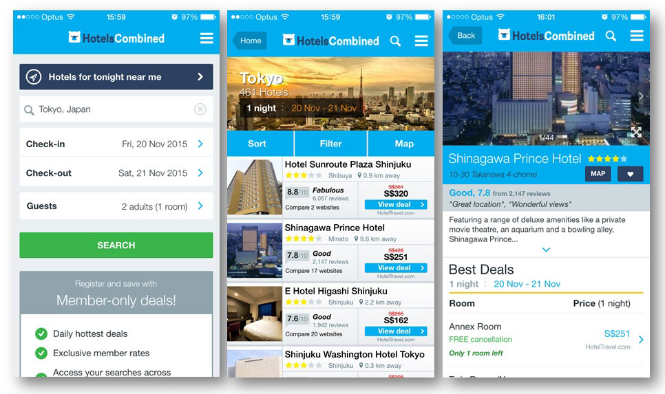 REVIEW: HotelsCombined App | The Test Pit