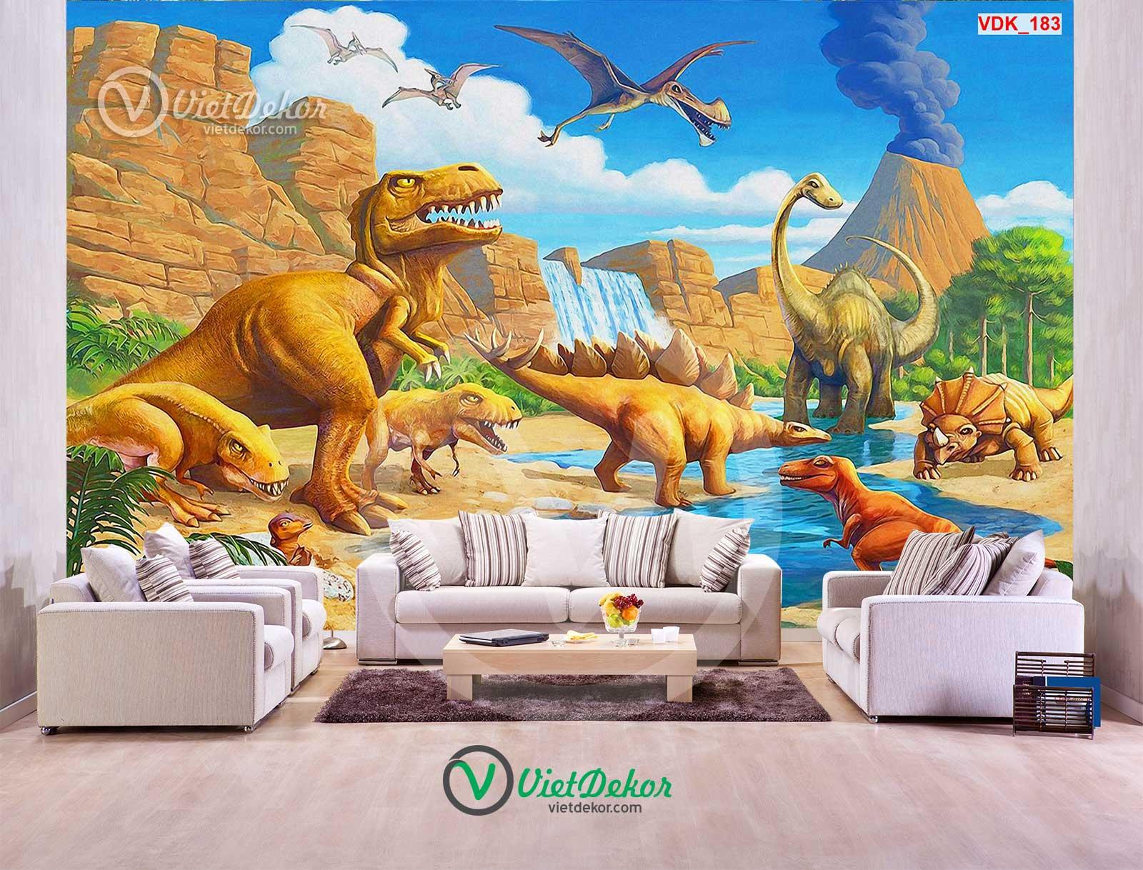 Tranh dán tường 3d khủng long cho trẻ em