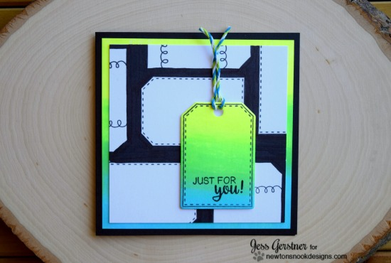 Neon tag card by Jess Gerstner | Tag Sampler stamp set by Newton's Nook Designs #newtonsnook