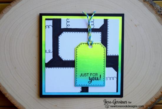 Neon tag card by Jess Gerstner   Tag Sampler stamp set by Newton's Nook Designs #newtonsnook