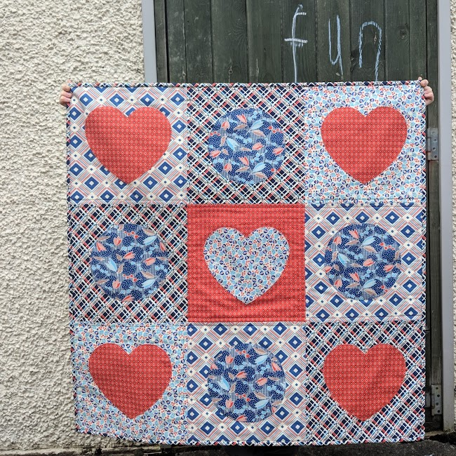 hearts and circles applique Dense Schmidt Ludlow quilt