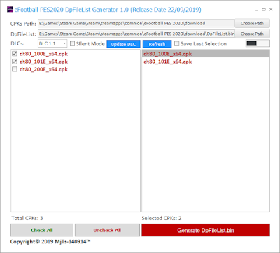 eFootball PES20 DpFileList Generator by MjTs-140914