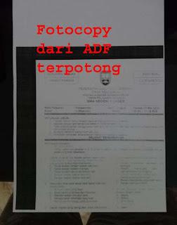 Hasil Fotocopy terpotong dari adf  IR 5075