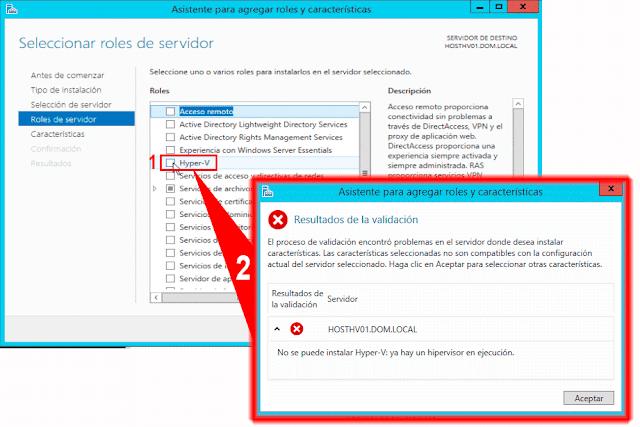 No se puede instalar Hyper-V: ya hay un hipervisor en ejecución.