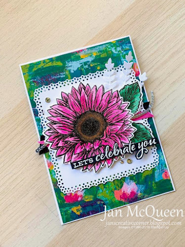 Birthday card featuring Stampin Up's Celebrate Sunflowers by Jan McQueen. More info@ www.janscreativecorner.blogspot.com