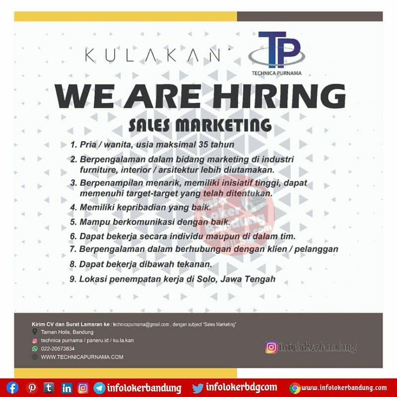 Lowongan Kerja Kulakan Technica Purnama Bandung Juni 2021