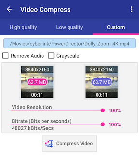 Custom select video resolution and bitrate
