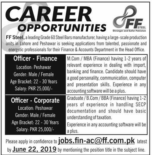 Jobs for Male and Female in Peshawar 20 June 2019