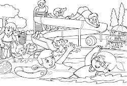 Catatanku Anak Desa Gambar Mewarnai Berenang