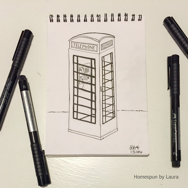homespun by laura daily doodle pen drawing london UK phone vintage telephone booth call box