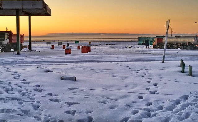 San Sebastian Argetinian border sunset in Tierra del Fuego