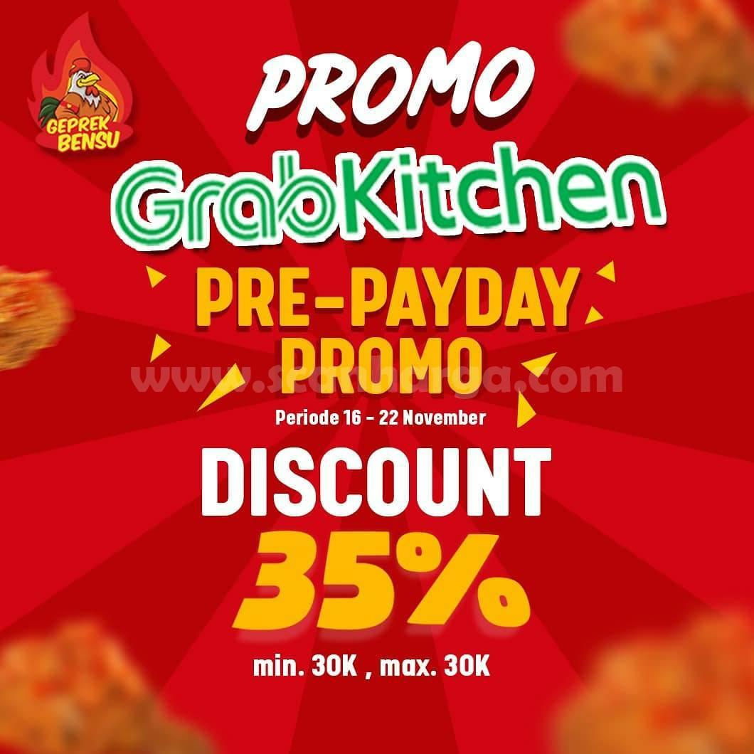 Geprek Bensu Promo GrabKitchen Pre Payday Diskon 35%