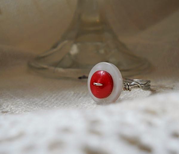 Drops of Red Vintage Button Ring