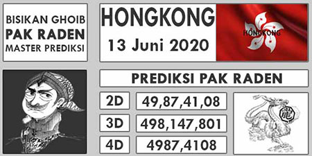 Prediksi HK Malam Ini 13 Juni 2020 - Pak Raden