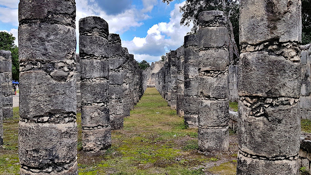 Rows of pillars at Chichen Itza...