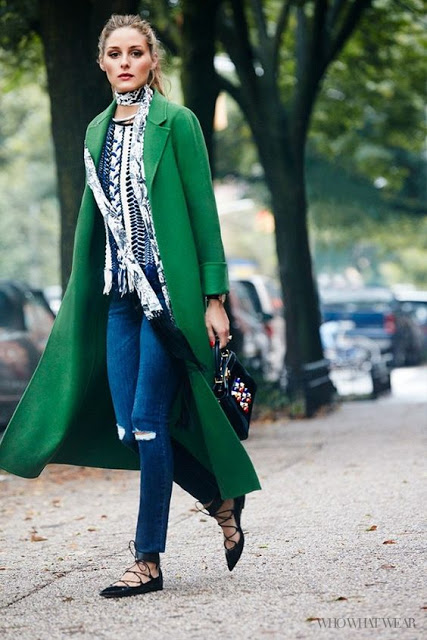 statement coats green Olivia Palermo