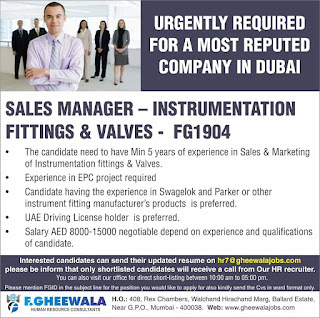 Sales Manager Required for Dubai