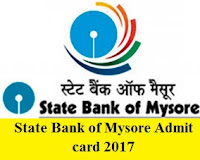 State Bank of Mysore Admit Card