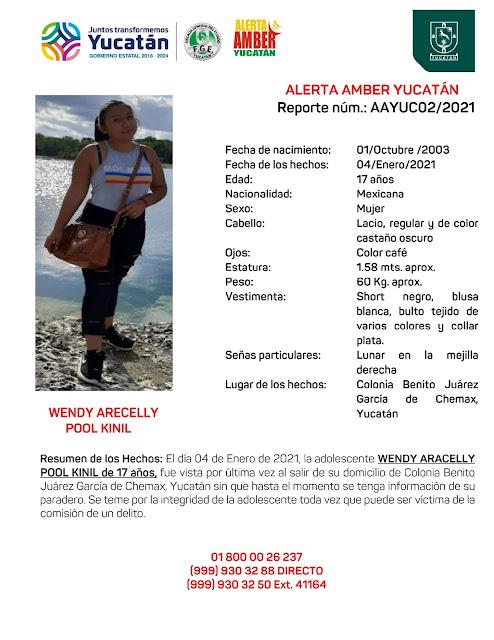 Alerta Amber para Wendy Aracelly Pool Kinil, de 17 años