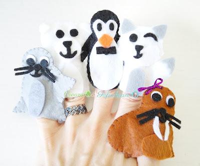Titeres de dedo animales polares