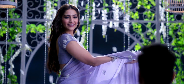 Sonam Purple Nylon Net With Multy Work Saree in 'Jalte Diye' Song