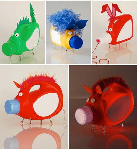animali realizzati con bottiglie di plastica