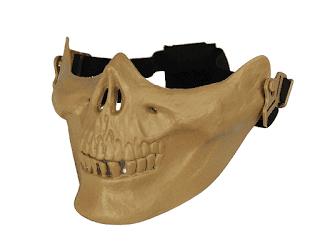 Máscara meia face no formato de caveira