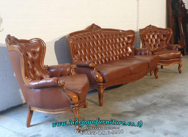 Sofa Tamu Louise Classic Oscar Mebel Terbaru FSJ-0005, kursi tamu klasik mewah, set kursi tamu jati, set sofa tamu mewah kayu jati