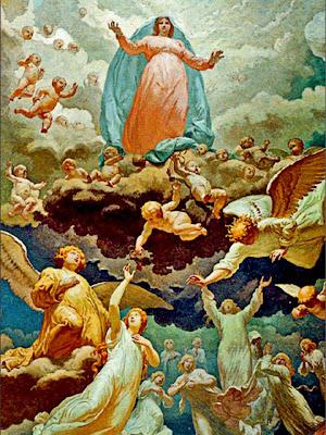 La Virgen con sus Santos Angeles Liberando Almas del Purgatorio