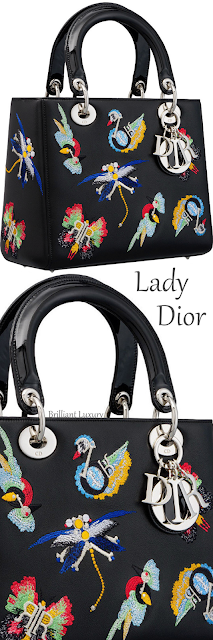 Black Lady Dior calfskin bag embroidered with animals and Dior charms #brilliantluxury