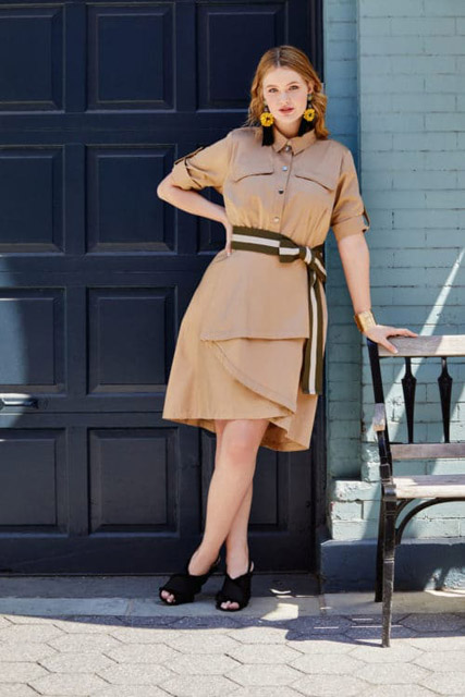 Платье рубашка с широким поясом для полной женщины для фигуры песочные часы