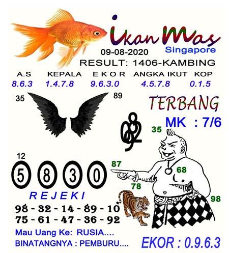 Syair Ikan Mas SGP Minggu 09 Agustus 2020