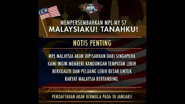 MPL Malaysia dan MPL SINGAPURA di pisah