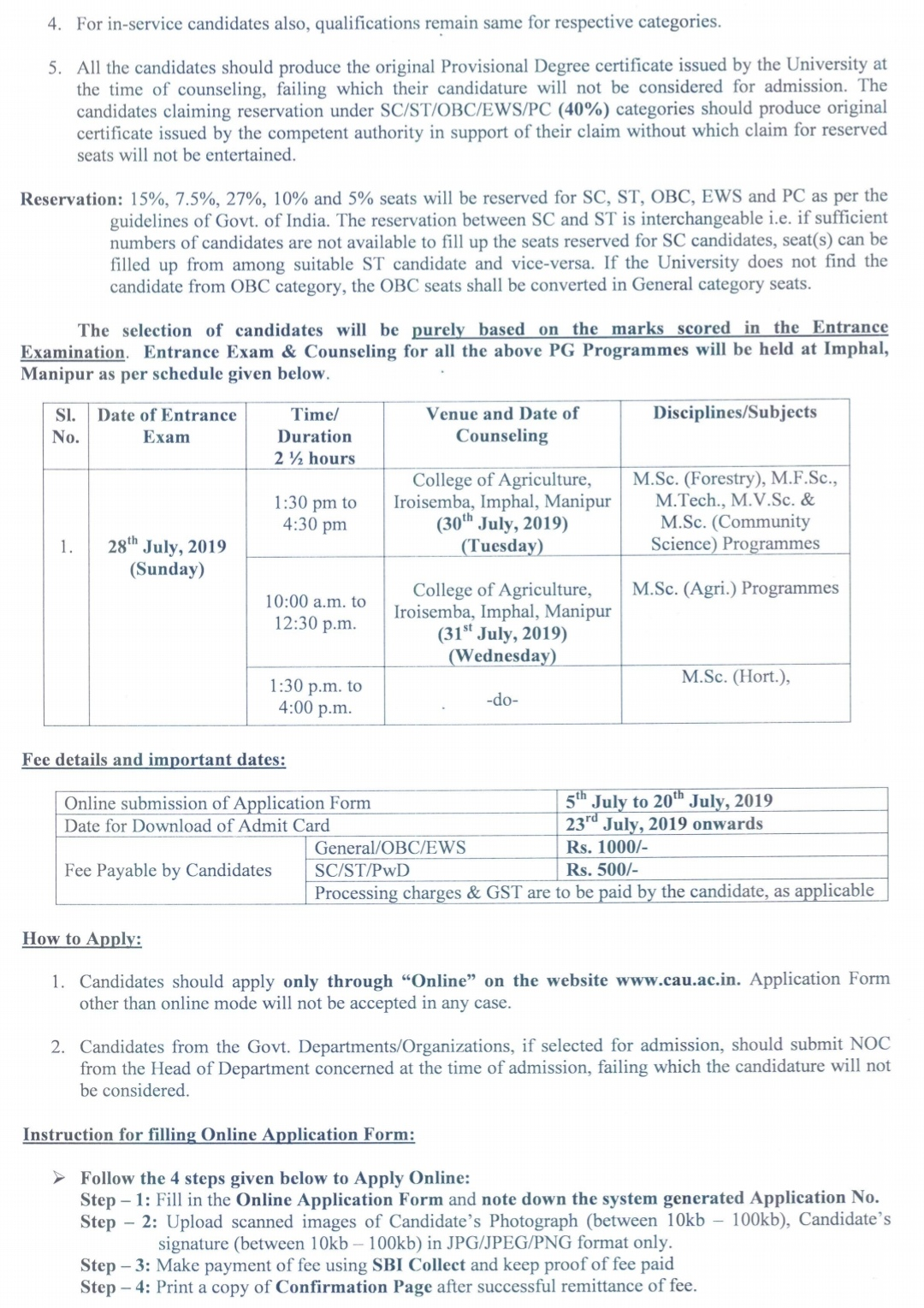 Central agriculture university imphal admission 2019 online application form and important dates, central agriculture university imphal online application form 2019,
