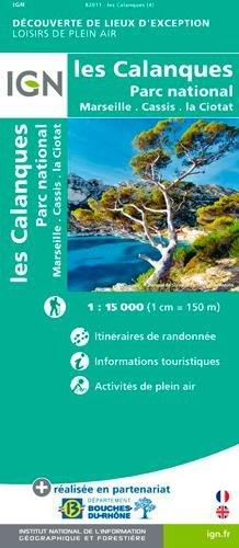 Carte calanques marseillaises,