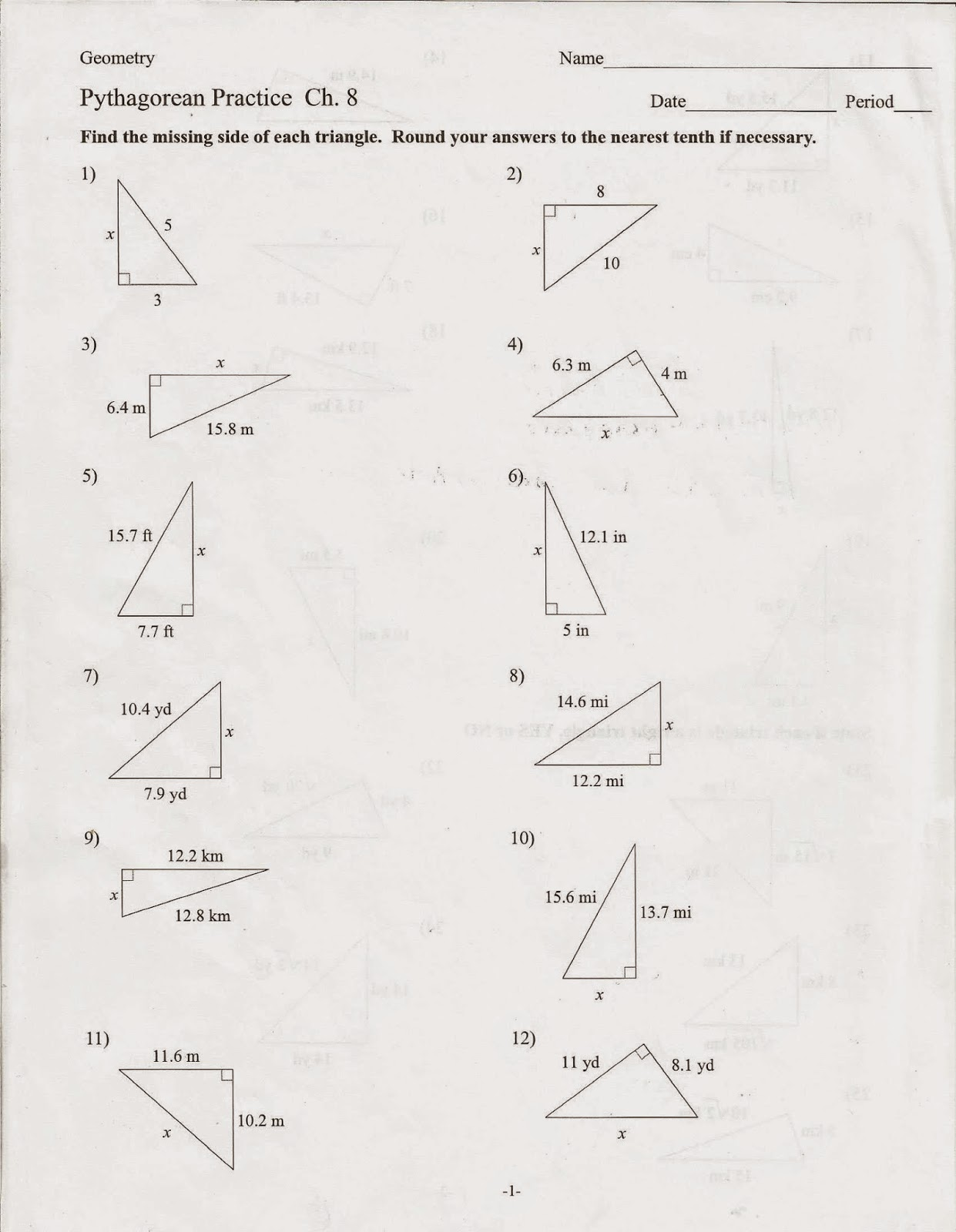 Geometry Common Core Style Activity Pythagorean Theorem