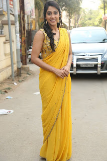 Actress Regina Candra Stills in Yellow Saree at 92.7 BIG FM 0032