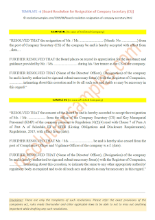 draft board resolution for resignation of company secretary