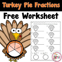 Free Turkey Pie Fraction Worksheet